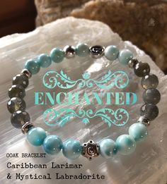 """Be enchanted with these super luxe Caribbean Larimar & Mystical Labradorite gems. Larimar is an extremely rare gemstone. It has been found only in one location: a mountainous, relatively inaccessible area in the province of Barahona in the Dominican Republic. Recently discovered, ethereal Larimar is one of the """"spiritual stones"""" that open to new dimensions, stimulating evolution of the earth. It radiates love and peace and promotes tranquility. zen jewelz 