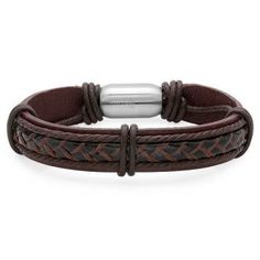 Bello Brown and Black Genuine Leather Men's Bracelet