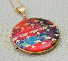 """Vintage Locket Necklace Alyson Fox Original Artwork """"Color Study II"""". $65.00, via Etsy."""