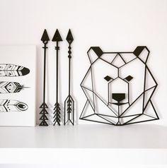 Geometric Bear, Geometric Wall Art, Bear Statue, Paper Cut Design, Bear Head, Bear Decor, Animal Decor, Pet Gifts, Hanging Wall Art