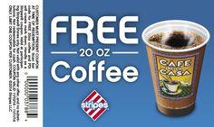 Free 20 oz Coffee at Stripes stores