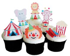 CIRCUS BIRTHDAY Cake Edible Cupcake Toppers by incrEDIBLEtoppers