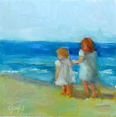"Daily Paintworks - ""Walk on the Beach"" - Original Fine Art for Sale - © Carol Josefiak"