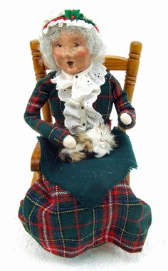 Vintage Christmas Byers Choice Grandmother With Rocking Chair and Fur Kitten Carolers by RetroCentsStudio on Etsy