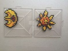 #337-#338 Lunatone and Solrock Perlers by TehMorrison