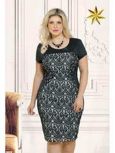 Vestido Recorte Tela Fasciniu's 8543 Primavera Verão 2016 Plus Size - Estrela Evangelica
