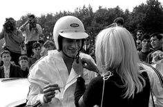 Johnny Hallyday in the sixties in France Johnny Hallyday and Sylvie Vartan at the Montlhery circuit in France on June 18 1967