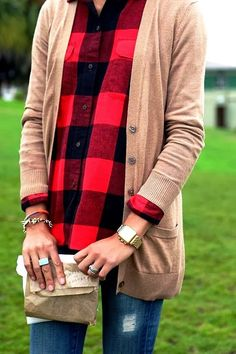 Plain Cardigan With Flannel and Skinny Jeans