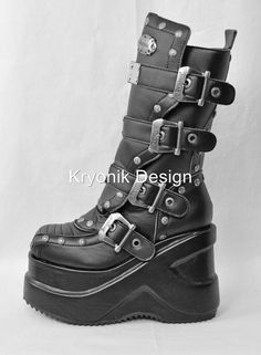 Demonia Outlaw-201 goth gothic cyber platform buckled boots with metal size 8 #Demonia #gothcyber, these will be mine someday.