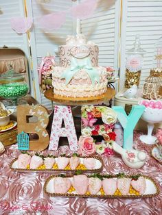 BABY SHOWER~Vintage Baby Shower Party dessert table. CatchMyParty.com!