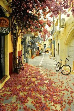 beautiful side street in Chania, Crete, Greece