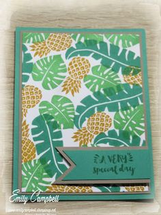 Display board samples from OnStage Auckland 2016, created by Emily Campbell.  Featuring Pop of Paradise and the 2016-2018 In-colours.  This card uses Emerald Envy, with Delightful Dijon and Cucumber Crush.