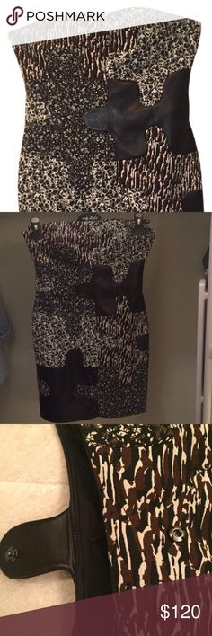 """DVF - Black Maria """"Puzzle"""" Cocktail Dress Black Maria """"Puzzle"""" Cocktail Dress Gorgeous dress, new w/tags. 100% lamb leather. Small on top, may fit 32B-34A Dress length is 26"""" Diane von Furstenberg Dresses Mini"""