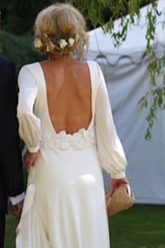 Boho wedding hair and gorgeous drop back dress! I love you it!