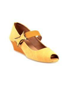 Do Bhai Women Mustard Yellow Peep Toes
