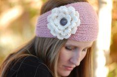 PATTERN: Fleur Bandeau - Knitted Ear Warmer Headband w/ Crochet Flower. $5.00, via Etsy.