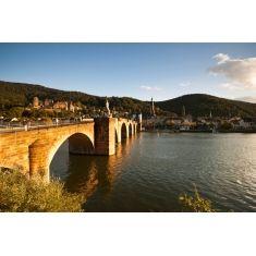 Fototapete vom Heidelberger Schloss, Neckarbrücke mit Brückentor, Heiliggeistkirche und Jesuitenkirche am Abend, Fotograf: A. F. Selbach