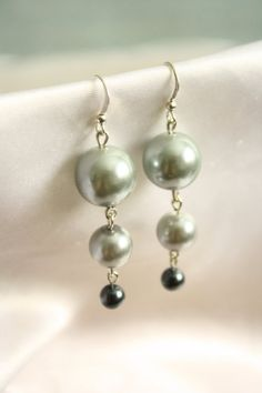 Three Tier Silver Colored Bead Earrings by ConceptAna on Etsy