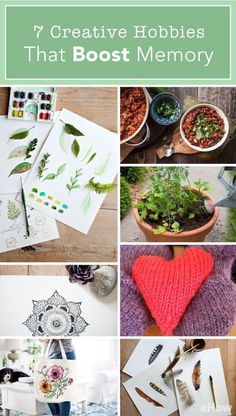 Trying to boost memory? Being creative actually helps improve your memory! These creative hobbies are at the top of the list: http://www.ehow.com/how_12343803_7-creative-hobbies-boost-memory.html?utm_source=pinterest.com&utm_medium=referral&utm_content=freestyle&utm_campaign=fanpage