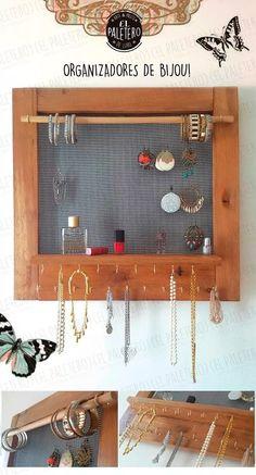 porta aros pulseras bijouterie madera pallets colgante caoba