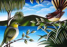 New Zealand Art, Nz Art, Kiwiana, Landscape Art, Rock Art, Art Images, Art For Kids, Pottery, Birds