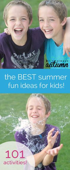 the BEST list of summer fun activities for kids! and you can do them all without even leaving home! 101 easy crafts, games, and activities that are all cheap or free to beat summer boredom. water balloon pinatas, marshmallow catapults, exploding ice chalk, tin foil rivers, toy car or doll washes, and more!