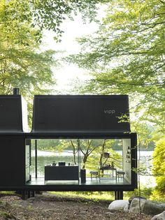 The Vipp Shelter - The Ultimate Prefab Home Comes Packed With Cool Features Container Home Designs, Shelter Design, Casas Containers, Cabin Design, Prefab Homes, Prefabricated Cabins, Glass House, Glass Cabin, Cabana