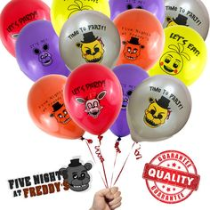 You are about to buy a 16 Count Five Nights at Freddys 12 Printed Latex Party Balloons FNaF USA (Size 12 - Big Ones)  Latex (12 Big ones!) Not the small 10inch 12 Five Nights at Freddys theme balloons per package (Size 12 - Big Ones) 3 Yellow, 3 Purple, 3 Red, 3 Silver and 3 Brown UNINFLATED Perfect for your Five Nights at Freddys themed inspired scare party.   Shipping and handling: Fast Shipping  We make every effort to mail within 1 business days of payment. You should have your item in…