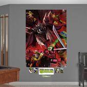 Teenage Mutant Ninja Turtles Shredder Battle Mural Wall Decals by Fathead, Multicolor Ninja Turtle Decorations, Ninja Turtles Shredder, Kid Character, Room Themes, Red Background, Teenage Mutant Ninja Turtles, Cool Walls, Tmnt, Wall Design