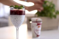 Mix chia seeds with the yoghurt of your choice and top it with lingonberry-Berrie! Layers are good.