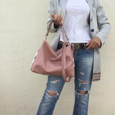Free shipping/ Hobo bag/ Pink leather bag/ Leather от LaraKlass