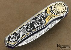 Hitchmough Custom Knife Tim George Engraved Damasteel and 416 Stainless Steel Linerlock - Howard Hitchmough custom knife - image 1 Engraved Knife, Engraved Pocket Knives, Picture Engraving, Metal Engraving, Cool Knives, Knives And Swords, Bamboo Fly Rod, Knife Art, Handmade Knives