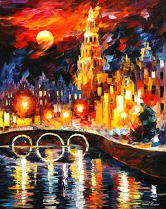 Amsterdam's Magic — PALETTE KNIFE Oil Painting On Canvas By Leonid Afremov