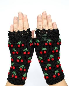 Black Gloves With Cherries Knitted Fingerless Gloves Black Embroidered GlovesBlack And Red Cherry Gloves And Mittens Polka Dot Pattern Fingerless Gloves Knitted, Crochet Gloves, Knit Mittens, Knitting Accessories, Winter Accessories, Handmade Accessories, Hand Crochet, Hand Knitting, Crocheted Lace