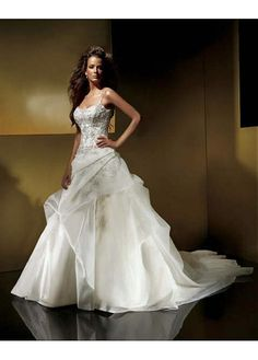 LACE BRIDESMAID PARTY BALL GOWN IVORY WHITE PROM ORGANZA SATIN SPAGHETTI BEADED WEDDING DRESS