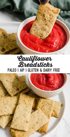 These cauliflower breadsticks are perfect for snacking and dipping! Theyre paleo AIP dairy free gluten free and nut free. These cauliflower breadsticks are perfect for snacking and dipping! Theyre paleo AIP dairy free gluten free and nut free. Gluten Free Recipes, Diet Recipes, Healthy Recipes, Healthy Foods, Cauliflower Breadsticks, Paleo Appetizers, Dairy Free, Nut Free, Grain Free