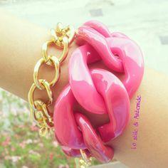 Plexiglass #chain #fuchsia #gold Chain, Bracelets, Gold, Jewelry, Jewlery, Bijoux, Jewerly, Bracelet, Bangles