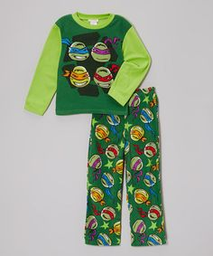Take a look at this Green TMNT Fleece Pajama Set - Boys by Teenage Mutant Ninja Turtles on #zulily today!