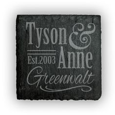 Square Slate Coasters (set of 4)  - Personalized First & Last name with Est. Date