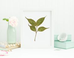 A printable wall art featuring a painting of Mahogany leaves in watercolor