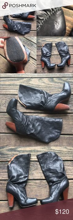 """Rare Frye Marta Tall Leather Boots size 6 6.5 You won't find anyone else with these boots that's for sure. Rare tall Marta boot with super supple black leather, wooden heel, and square toe. Almost brand new, no imperfections. Size 6.5 but these fit slightly small and narrow. Sole measures 9.5"""". Frye Shoes Heeled Boots"""