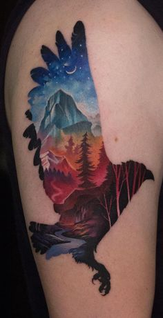 I sincerely adore the tints, outlines, and detail. This is an awesome choice if you are looking for a Wolf Tattoos, Animal Tattoos, Tatoos, Modern Tattoos, Unique Tattoos, Colored Tattoo Design, Lake Tattoo, Wrist Tattoo Cover Up, Landscape Tattoo