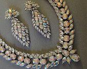 Hollywood Star Bridal Necklace Set  Amazing wedding jewelry in AB Rhinestones and matching Glamorous Long Chandelier rhinestone earrings