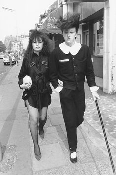 Blitz Kids were a group of young people who frequented the weekly Blitz club-night in Covent Garden, London in 1979-80, and are credited with launching the New Romantic subcultural movement. Steve Strange & friend, Covent Garden London 1981
