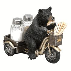Bear Tricycle Salt & Pepper Holder - A Black Forest Decor Exclusive - A black bear cruises along with his catch on this whimsical painted polyresin holder with a front basket to hold toothpicks. Includes glass salt and pepper shakers. Black Bear Decor, Black Forest Decor, Dining Decor, Kitchen Decor, Kitchen Stuff, Kitchen Ideas, Salt And Pepper Holder, Wood Craft Patterns, Cabin Kitchens