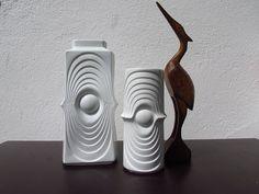 White porcelain vases, Set of 2, Germany Royal Porzellan Bavaria, KPM, Bisque vases, vintage, 60s 70s, Op Art, Swing