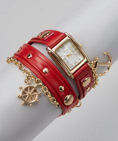 Look at this #zulilyfind! Red Nautical Wrap Watch by Geneva Platinum #zulilyfinds