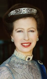 HRH Anne, The Princess Royal, now 61, wore the tiara during her engagement to her first husband, Captain Mark Phillips, and has been pictured wearing it at least four times, notably in 2000 for an official portrait to mark her 50th birthday. The tiara originally belonged to Anne's grandmother, Princess Alice, later known as Princess Andrew of Greece and Denmark.