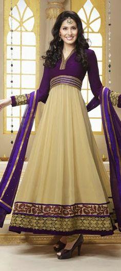409561, Anarkali Suits, Bollywood Salwar Kameez, Georgette, Stone, Lace, Resham, Purple and Violet, Beige and Brown Color Family