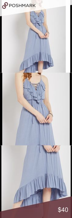 Ruffled lace up high low maxi dress BNWT medium Tags attached. Comfy. Cute and stylish. For work or play Dresses